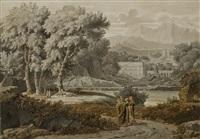 paysage arboré, une ville à l'arrière-plan by pierre péquignot