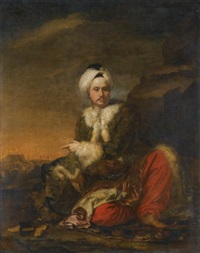 portrait of a merchant of the levant company in turkish dress, a view of aleppo beyond by andrea soldi
