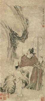 拜石图 立轴 设色纸本 by jiang lian