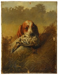 a setter with a ruffed grouse by louis contoit