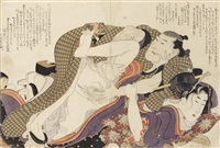 four oban shunga prints from the album ehon tsui no hinagata (patterns of loving couples), depicting love-making scenes with four different couples (4 works) by katsushika hokusai