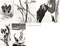 水墨写意花鸟 (五幅) (5 works; various sizes) by liu shengyu