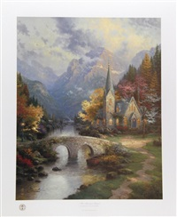 the mountain chapel by thomas kinkade