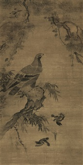 松鹰图 (pine tree and eagle) by dai qinming