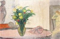 natura morta con fiori e statue by francesco menzio