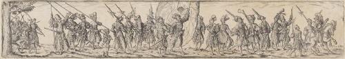 marschierende soldaten in der mitte ein fahnenträger after j amman by johann theodor de bry
