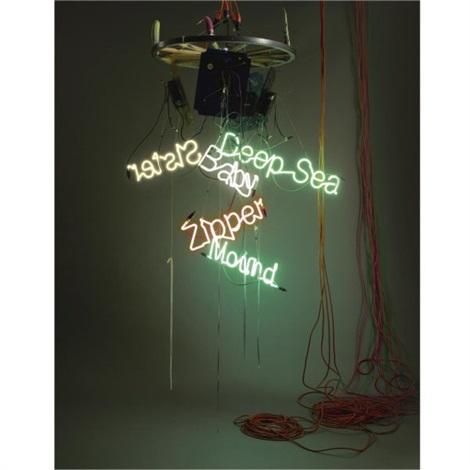 one-wheel waggon-wheel chandelier one-wheel waggon-wheel chandelier one-baby zipper, deep sea, wound sister by jason rhoades