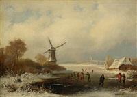 eisvergnügen in holländischer winterlandschaft by caesar bimmermann