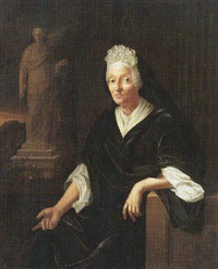 portrait of a lady, seated, wearing black, leaning on a sculpted frieze, a statue beyond by pieter van der werff