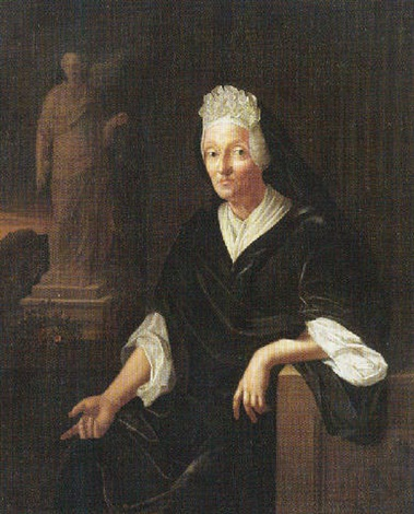 portrait of a lady seated wearing black leaning on a sculpted frieze a statue beyond by pieter van der werff