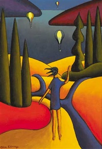 figure looking out to sea, hot air balloons in distance by alan kenny