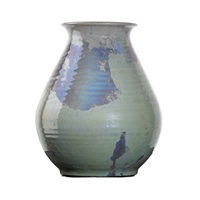 ribbed vase by pewabic pottery