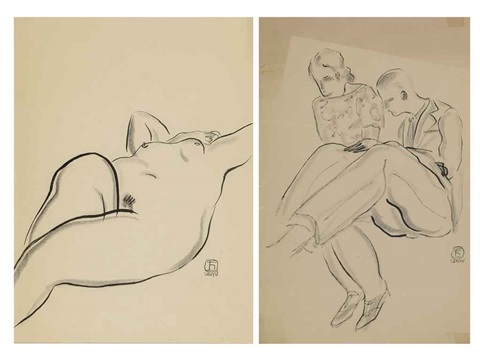 lady lying down a couple 2 works by sanyu