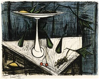 still life with a tall tazza bearing fruit, upon a triangular tabletop with grapes and a single pair of bright red cherries by bernard buffet