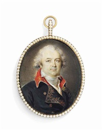 a general called françois christophe de kellermann (1735-1820), 1st duke of valmy and marshal of france, in black coat embroidered with gold oak leaves, red collar, brass buttons, white waistcoat by jean urbain guerin