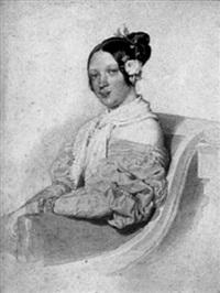 bildnis einer dame in lichtblauem kleid, in einem lehnstuhl sitzend by leopold fischer