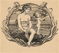 nereide und amorette (entwurf für ein exlibris) by hans thoma