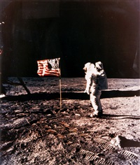 buzz aldrin and the american flag on the sea of tranquillity, apollo 11, july 1969 by neil armstrong