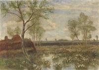 landschaft bei fischerhude (frühling im moor) by otto friedrich wilhelm modersohn