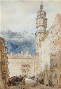 bustling activity in an alpine town square by samuel john hodson