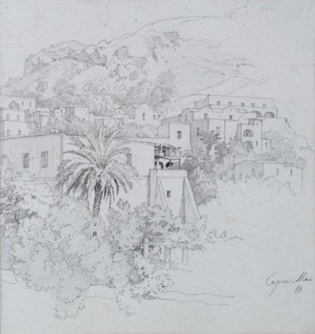 blick auf häuser am hang auf capri dbl sided by heinrich gärtner