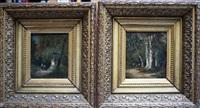 wandelaars bij een kapelletje, ruiter en wandelaar op bospad (2 works) by frans breuhaus de groot