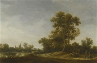 landscape with travellers conversing on a sandy path, fisherman on a river beyond by jan josefsz van goyen