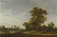 landscape with travellers conversing on a sandy path, fisherman on a river beyond by jan josefsz van goyen