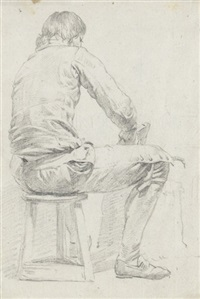 a man sitting on a stool, seen from behind by hermanus van brussel
