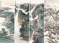 四季山水 镜心 设色纸本 by xu jianming