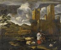 landschaft mit ruinen und staffage by nicolaes berchem