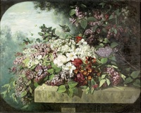 blumenstück mit weissem und violettem flieder by jules louis badel