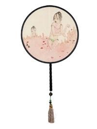 双美图 宫扇 设色绢本 (painted in 2014 circular fan) by liu qinghe