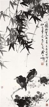 竹荫双禽 by jiang fengbai
