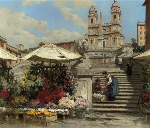 flower sellers on the spanish steps rome by filippo anivitti