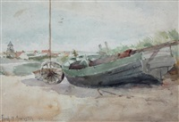 boat on shore by frank milton armington