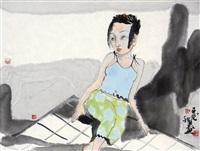 人物 镜框 设色纸本 by liu qinghe