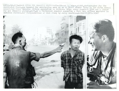 untitled vietcong officer executed with picture of adams at right by eddie adams