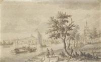 un paysage fluvial, une église sur la droite et une ville à l'arrière plan by johannes storck
