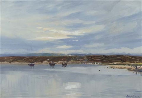 a view of lobito bay, angola (+ straight of malacca; 2 works) by ernst (vollbach) vollbehr