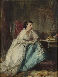 woman in her study by robert duddingstone herdman