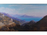 an extensive view on a mediterranean coast, possibly sicily by charles vacher