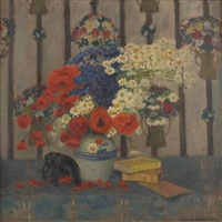 composition florale et éléphant by louis gustave cambier