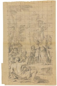 st. bonaventura preaching to a crowd and pointing towards a vision of a saint, with the arms of pope alessandro vii, chigi, below; study for the figure of a deacon and separate studies for the head and bust of a woman and an owl (recto-verso) by luigi garzi