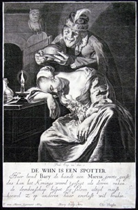 de wiin is een spotter (after f. van mieris) by hendrik bary