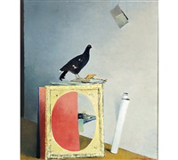 still-life with a black grouse and painting by juhani linnovaara