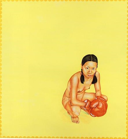 butter and egg yellow painting with girl in red gloves by su en wong