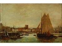bateau de pêche dans le port de dieppe (+ sans titre (sketch), verso) by pierre eugene grandsire
