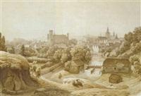 ansicht einer stadt am fluss (hulsberg/belgien?) by hermann gemmel