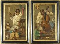 scimmie musiciste (coppia) by emil reinicke